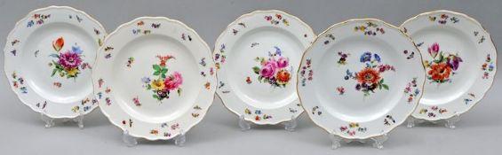 Fünf Teller, Meissen / Five plates, Meissen