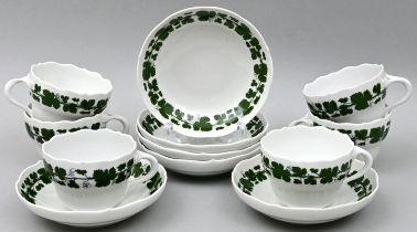 Sechs Tassen + UTA, Meissen / Six cups with saucers, Meissen