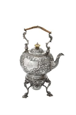 Y An Edwardian silver circular kettle on stand by George Perkins