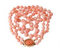 Y A two row coral bead necklace