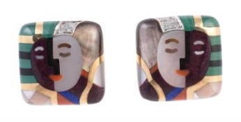 Y A pair of American inlaid hardstone mosaic earrings by Asch Grossbardt