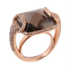 A diamond and smoky quartz Horse Bit dress ring by Hermès