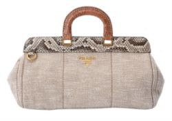 Y Prada, a beige fabric and python handbag
