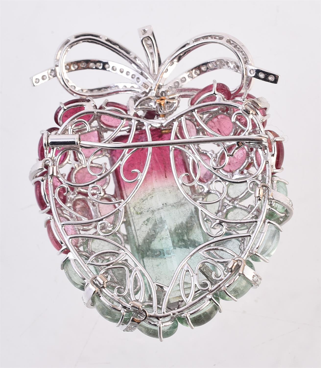 A diamond and tourmaline wrapped heart brooch - Image 2 of 2