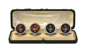 Y A cased set of four silver mounted and tortoiseshell menu holders by E. S. Barnsley & Co.