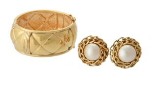 Chanel, a pair of faux pearl oversized clip earrings