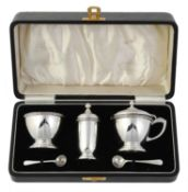 A cased silver five piece cruet set