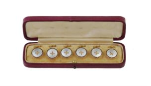Y A set of six early 20th century mother of pearl and enamel buttons