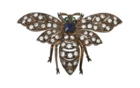 A sapphire and diamond bee brooch