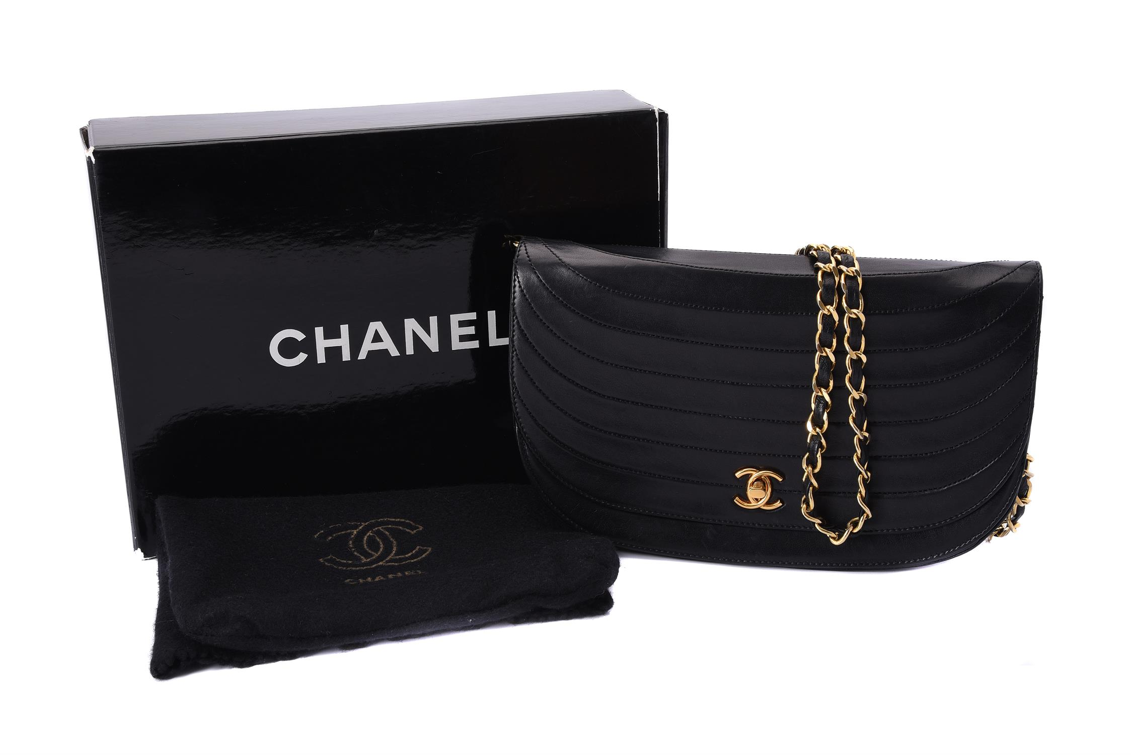 Chanel, a vintage black leather flap bag - Image 3 of 3