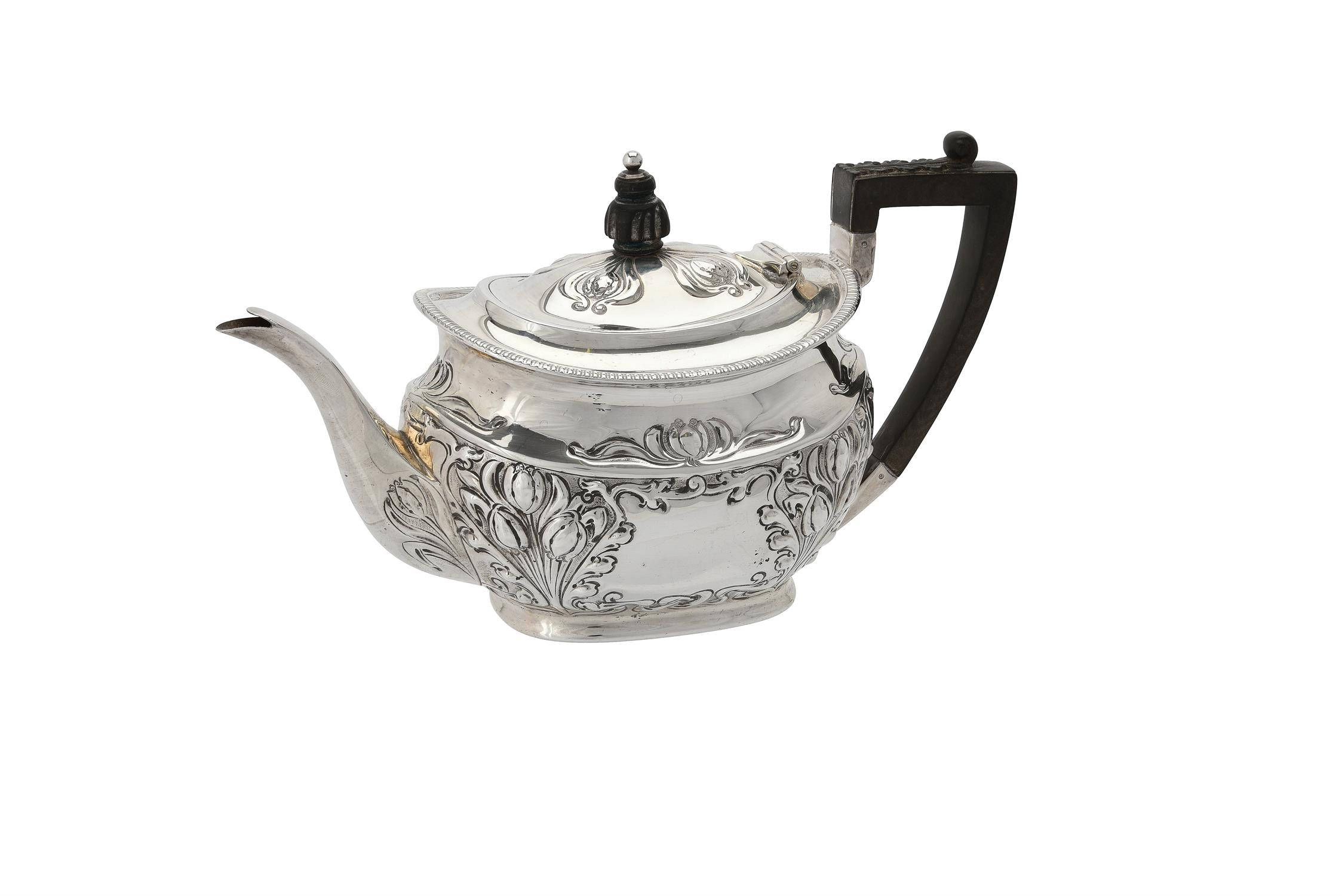 An Edwardian silver oval tea pot by Atkin Brothers
