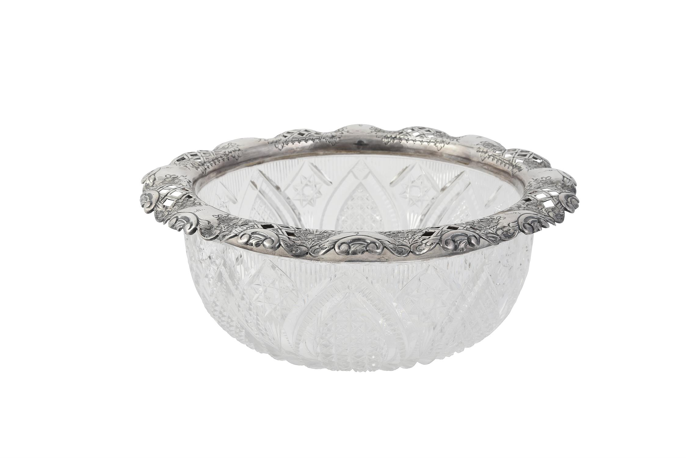 A late Victorian silver mounted cut glass bowl by Thomas Latham & Ernest Morton