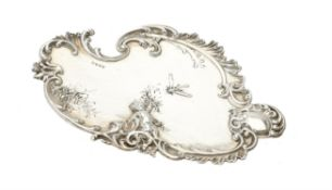 A silver shaped oval dish