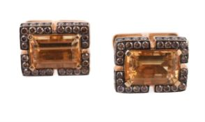A pair of brown diamond and citrine cufflinks by Ashley