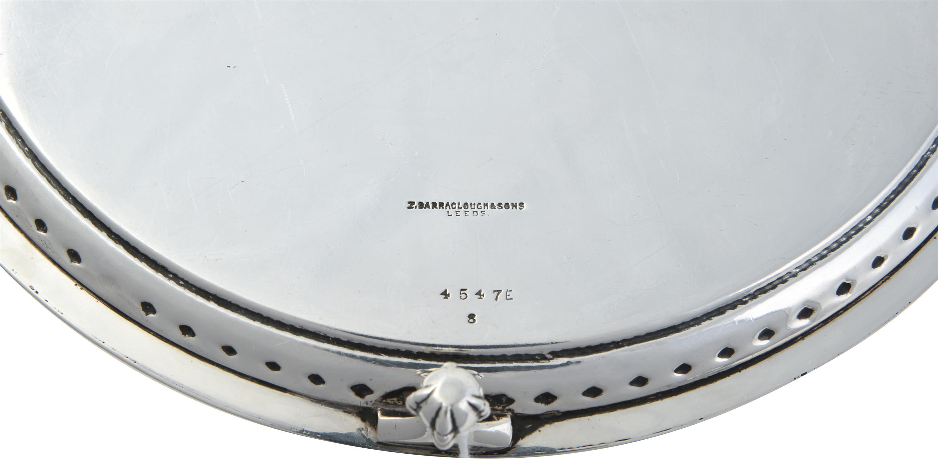 An Edwardian silver circular salver by Z. Barraclough & Sons