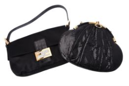 Y Fendi, Baguette, a black silk and leather handbag