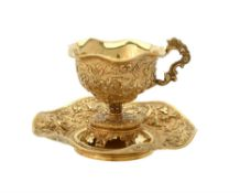 A French silver gilt cup and saucer by François Durand