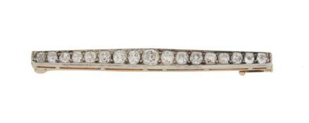 A late Victorian diamond bar brooch