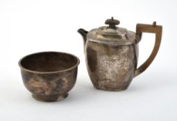 A silver oblong baluster tea pot