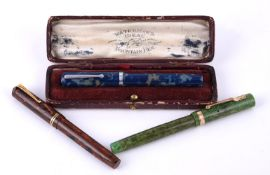 Waterman's Ideal, a blue marbled fountain pen, circa 1935