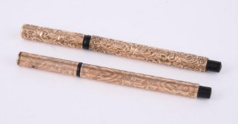 Two 9 carat gold fountain pens
