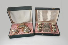 A Chinese export porcelain and white metal mounted tea set
