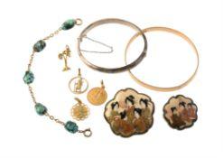 A late Victorian turquoise matrix bracelet