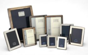 Ten silver mounted rectangular photo frames