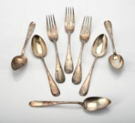 Three Russian silver table forks and three dessert spoons by Khlebnikov