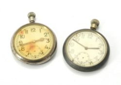 Unsigned,Base metal military keyless wind open face pocket watch
