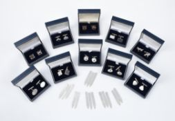 A collection of silver cufflinks and collar stays