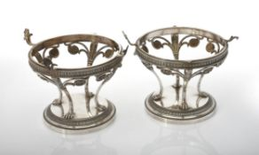 A pair of Norwegian silver bowl stands by David Andersen