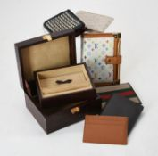 A brown leather faux crocodile jewellery case by Fortnum & Mason
