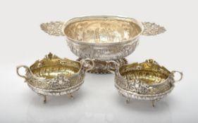 A Dutch silver twin handled pedestal dish