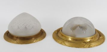 Two French gilt metal framed and frosted glass dished ceiling lights or plafonniers