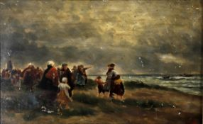 After N Sadee (late 19th/early 20th century Dutch), Figures on the shore