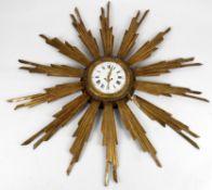 "A 19th Century French giltwood ""Star burst"" wall clock"