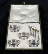 A cased set of four French silver Art Nouveau salt cellars
