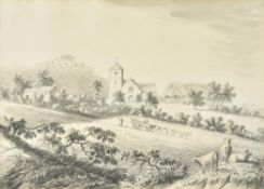 Attributed to Anthony Devis (British 1729-1817), Farming scene with church in the distance