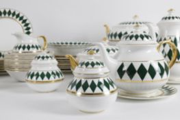 Thomas Goode, an extensive modern bone china breakfast service in the Harlequin pattern