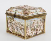 A late 19th/early 20th century Capodimonte porcelain casket