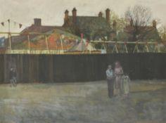 λ William Bowyer (British 1926-2015) , Figures outside the fair