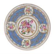 A French Sevres style porcelain plaque or tray