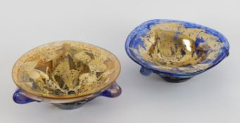 Jean Claude Novaro, two art glass blue and gilt bowls