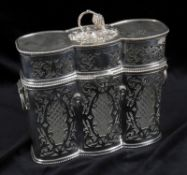 A silver plated triple tantalus case