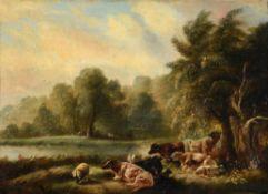British School (19th century), Cows in a landscape