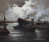 Continental School (20th century), Boats at the harbour, in moonlight