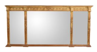 A giltwood and composition overmantel wall mirror in late George III style