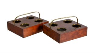 A pair of George III mahogany and brass mounted decanter carriers