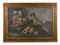 Follower of Jacob Marrell, Still life of flowers in a vase and game birds, a pair